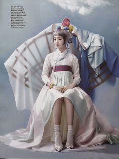"""""""Once Upon a Time"""": So-Hee Song in High Fashion and Traditional Korean Costume (Hanbok) by Hyea-Won Kang for Vogue Korea June 2014"""