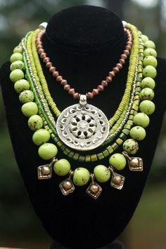 Tibetan-Inspired Green, Copper, Silver Shield Pendant Fringe Necklace