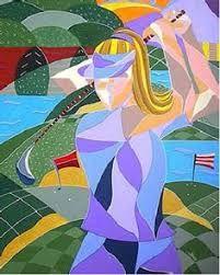 Kristen Stein Fine Arts X Art Deco Cubism Printed Artwork - Female Golfer Golf Holidays, Golf Art, Golf Umbrella, Art Deco, Golf Accessories, Ladies Golf, Artwork Prints, Fine Art, Make It Yourself