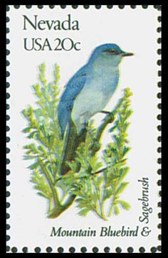 1982 20c Nevada State Bird & Flower - Catalog # 1980 For Sale at Mystic Stamp Company