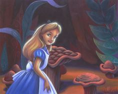 """The Curiosity of Alice"" by James C. Mulligan - Original Acrylic on Board, 16 x 20.  #Disney #DisneyFineArt #AliceInWonderland #JamesCMulligan"