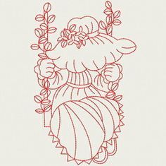 Redwork Swing Sunbonnets 09(Lg) machine embroidery designs                                                                                                                                                                                 More