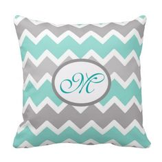 Aqua Blue and Gray Grey Chevron Throw Pillow for baby nursery or any home decor. Great shower gift #decampstudios
