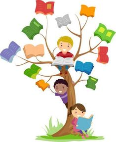 Stickman Illustration Of Kids Reading Books Growing Off A Tree Stock Photo, Picture And Royalty Free Image.