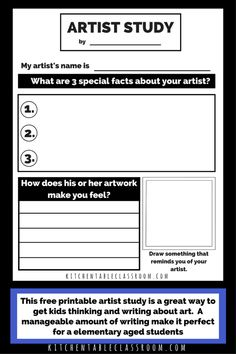 Artist Study Worksheets-Talking & Writing about Art with Kids Studying great artists is an easy way to connect vocabulary, art history, and personal connections to artwork. Get your free artist study printables! High School Art Projects, Easy Art Projects, Project Ideas, Middle School Art, Art School, School Stuff, Programme D'art, Art Doodle, Critique D'art
