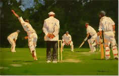 Cricket painting by John Haskins Cricket Poster, Composition Drawing, Ivy Style, Play N Go, Cricket Match, World Of Sports, Painting & Drawing, My Arts, Poster Ideas