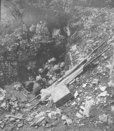 Italian dressing station in shell hole 1918 | Photograph | Medical Front WWI