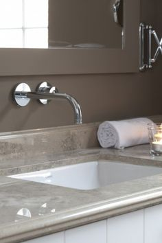 deep taupe and white contemporary country bathroom by Bieke Vanhoutte