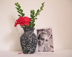 Annata di vaso, vecchio vaso di ceramica, vaso blu e nero lava 1950, design vaso retrò, vaso, vaso art deco vaso centro tavolo