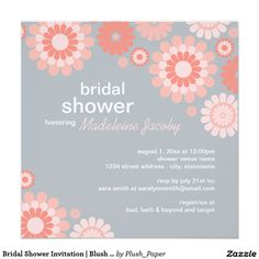 Bridal Shower Invitation | Blush Coral Pink Daisy