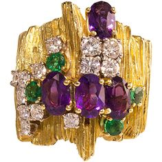 Henry Dunay Emerald Amethyst Diamond Gold Ring | From a unique collection of vintage cocktail rings at https://www.1stdibs.com/jewelry/rings/cocktail-rings/