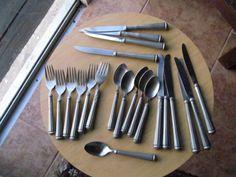 27 pcs Alvin Rondelle pewter Flatware Incuding four rare steak knives