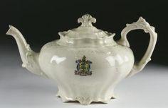 Teapot of porcelain, by the Coral Porcelain Co., Castle Pottery, Prestonpans, c. Tea Service, Teapots, Picasso, Tea Set, Tea Time, Whimsical, Tea Cups, Asia, Castle