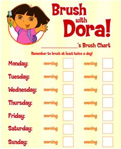 A  calendar for preschoolers to help remember to brush their teeth! #Dora #Preschool