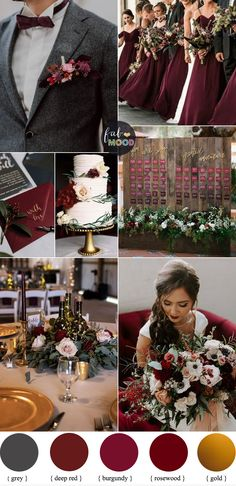 Rosewood + Deep Red + Burgundy and gold for autumn and winter wedding #fall #color #autumn #wedding #burgundy #red