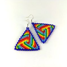 Rainbow Earrings - Rainbow Jewelry - Seed Bead Earrings - Triangle Earrings…