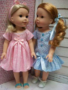 "PDF Wardrobe Pattern for 14.5"" Doll, Similar to Wellie Wisher (TM) Dresses,Sandals, Hat"