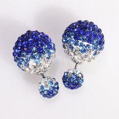 Mise en Gum Tee Style Tribal Earrings - Crystal Drip Dark Blue