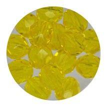 Faceted Fire Polish Beads Czech Glass 8mm Dark Yellow - $7.94