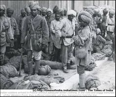WW1. Indian soldiers arrived in France without adequate winter clothing. In the cold and soggy trenches of the Western Front, they suffered miserably, yet they managed to hold the line. © The Times of India