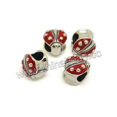 Metal beads, 925 sterling silver European bead in antique silver plating, Red enamel beetle, Approx 10.3x10.7x8.8mm, Hole: Approx 4.7mm, 10 pieces per bag, Sold by bags