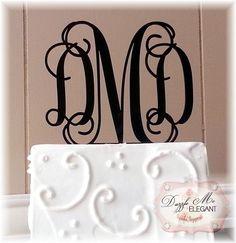 Entwined Elegance Vine Monogram Cake Topper  #monogram #wedding #pinoftheday http://dazzlemeelegant.com/item_249/Entwined-Elegance-Vine-Monogram-Cake-Topper.htm