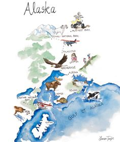 Watercolor Alsaka Map by Lauren Taylor
