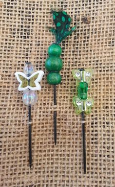 Green Butterflies Beaded Push Pin Set by GrlFridayProductions, $5.00