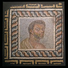 Roman Mosaic Panel of an Athlete Culture : Roman, Roman Imperial Period : Circa century A. Material : Stone and glass paste Dimensions : Height: Length: Stone Mosaic, Mosaic Art, Roman History, Art History, Ancient Rome, Ancient Art, Mosaic Portrait, Roman Art, Greek Art