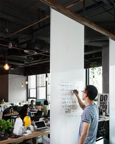 Need to remember to add some highlight for brainstorming. Also saw an idea where you can pull down a paper roll... will try to find and add. LEO headquarters in Shanghai whiteboard wall