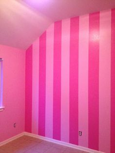 ideas for bedroom paint pink striped walls Hot Pink Bedrooms, Pink Bedroom Walls, Pink Bedroom Decor, Pink Bedroom For Girls, Pink Walls, Trendy Bedroom, Bedroom Ideas, Bedroom Wallpaper, Bedroom Black