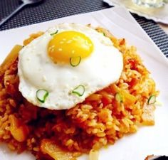 South Korean kimchi fried rice with bacon
