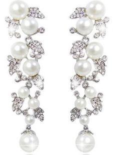 Charm EVER FAITH Bridal Ivory Color Cream Simulated Pearl Leaf Dangle Earrings Clear Austrian Crystal