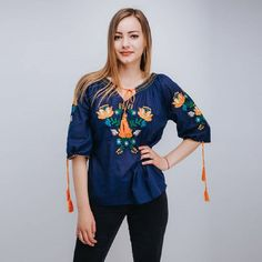 Women's blouse with traditional embroidery by on Etsy Blouses For Women, Traditional, Embroidery, Trending Outfits, Unique, Long Sleeve, Sleeves, Etsy, Clothes