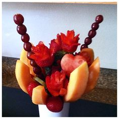 nice Mouthwatering Fruit Flower Arrangement Check more at http://www.scentimentsflowers.com/mouthwatering-fruit-flower-arrangement/