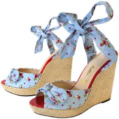 ELLIE BLUE STRAWBERRY POLKA DOT WEDGES http://www.sourpussclothing.com/gals/shoes/ellie-blue-strawberry-polka-dot-wedges.html
