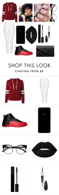 """""""Black With Red"""" by jaden-norman on Polyvore featuring Topshop, NIKE, Lime Crime, Gucci, Lancôme and Balenciaga"""