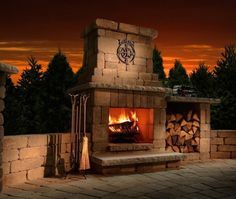 Colonial Outdoor Fireplace - Get more use out of your backyard with the Necessories Colonial Outdoor Fireplace. Perfectly sized for smaller outdoor living spaces, this is the perfect do it yourself fireplace for you. It's made of tough stone and comes with everything you need to build a handsome, warming addition to your...