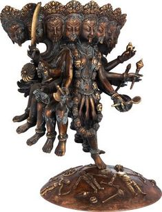 The Unusual Mahakali With Ten Heads, Ten Arms, And Ten Legs (Made In Nepal)