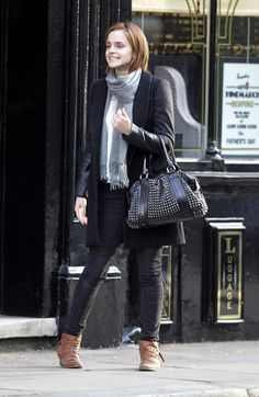 Dear Stylist, I love Emma Watson's casual look, but I'd personally want some color - maybe that jacket or scarf or pants...