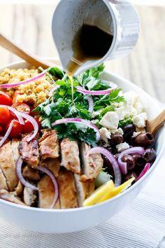 Balsamic Chicken Salad with Lemon Quinoa   https://cafedelites.com