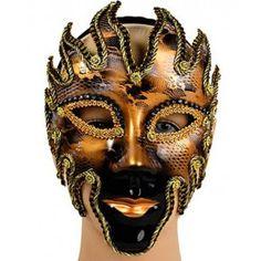 """Золотая мужская венецианская маска """"Вольто"""""""