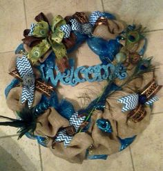 Spring Peacock Wreath  on Etsy, $75.00