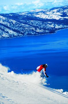 Heavenly ski resort, Lake Tahoe.  We skied in this very spot in February '09, as well as Squaw Valley and Kirkwood.  Best ski vacation ever!