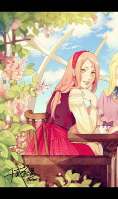 NARUTO, Yamanaka Ino, Haruno Sakura, Casual Clothes, Pink Flower
