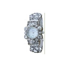 Flower Style w/ Crystals Silver Bangle Cuff Watch: Watches: Amazon.com