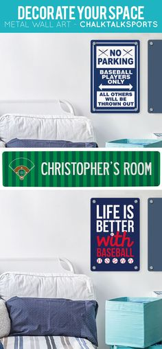 Baseball room signs to give you the coolest baseball room around.