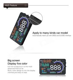 """A8 5.5"""" Screen HUD Head Up Display System for Car - Black - Free Shipping - DealExtreme"""