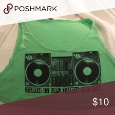 """American Apparel Neon Green DJ Crop Tank Neon green crop tank with record spinning picture and """"Turn it up, turn me on"""" written on front. In good condition, perfect for the DJ or EDM lover! American Apparel Tops Crop Tops"""