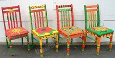 funky painted dining chairs | painted chairs